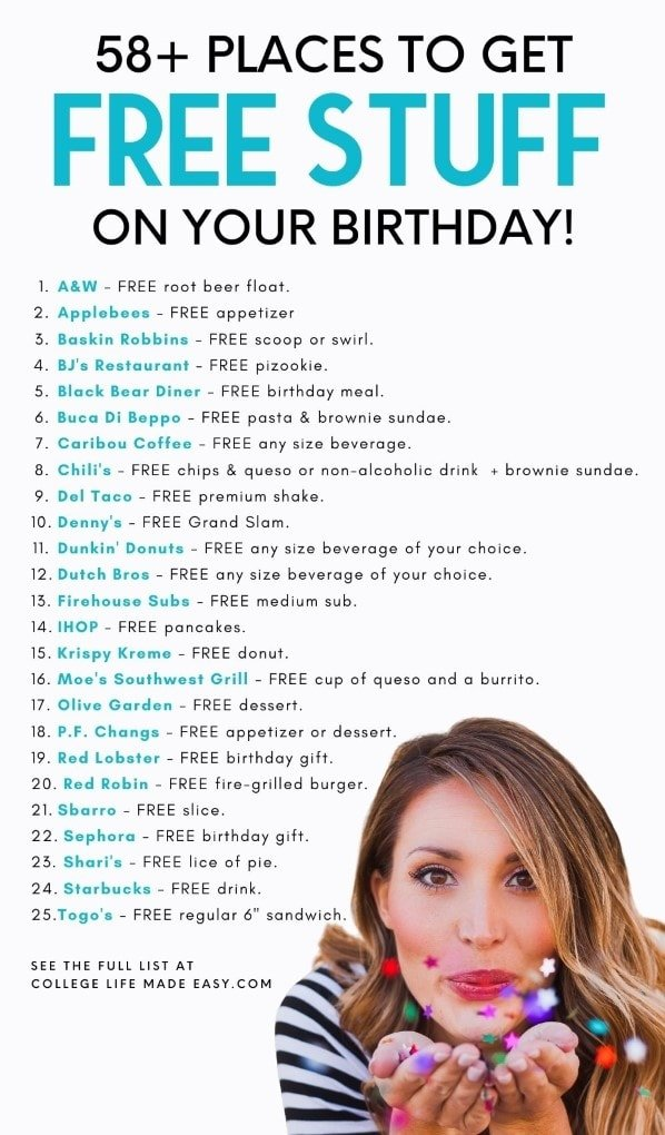 list of birthday freebies - Pinterest