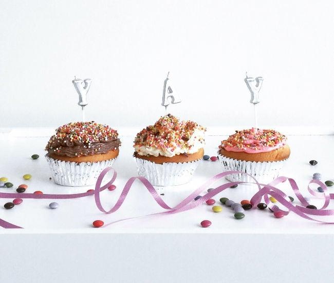 birthday cupcakes spelling YAY