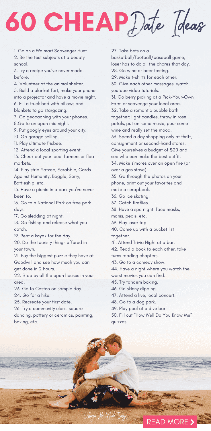 60 Cheap Date ideas, College Date Ideas, double date ideas for college students, date ideas for college students