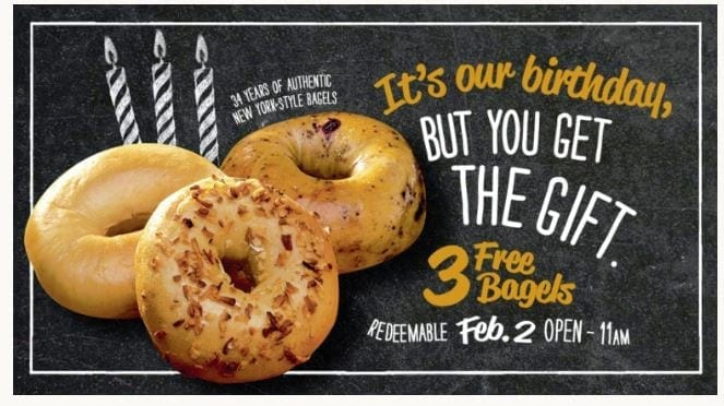 3 FREE Bagels at Breugger's Bagels! Sign up Now!
