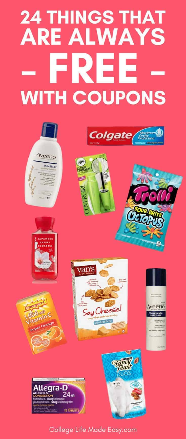 I LOVE being able to get all these things for free with coupons! And not just occasionally, I'm able to get them for free regularly. #coupons #free #freebies #couponing #hacks #frugal #frugalliving