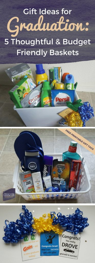 High School College Graduation Gift Basket Ideas | For Girls, For Guys, For Her, For Him | How to Make, DIY | Free Printable, Printables Gift Tags | Budget Friendly