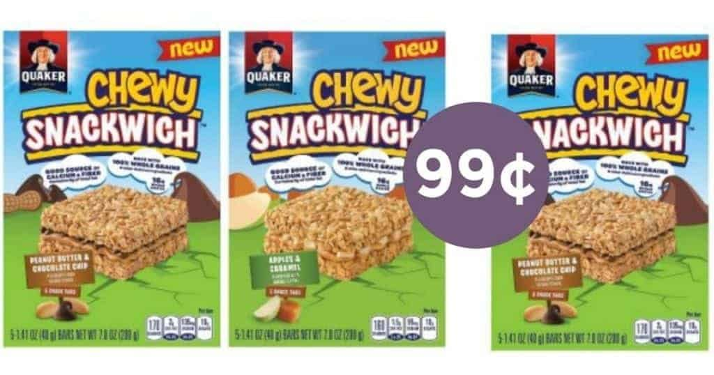 quaker chewy snackwich