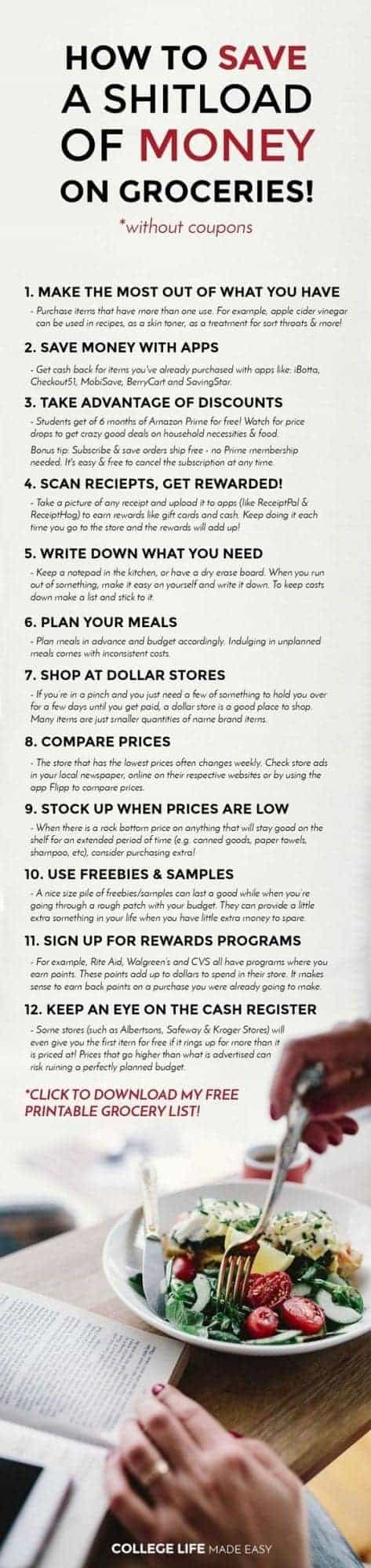 12 Ways for College Students to Save Money on Groceries (No Coupons Needed!)