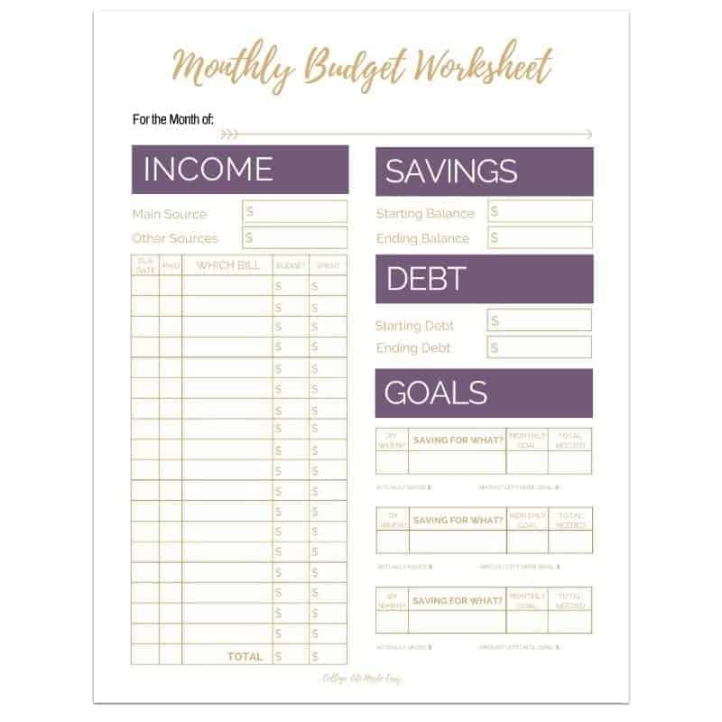 editable monthly budget worksheets set of 3 college life made easy