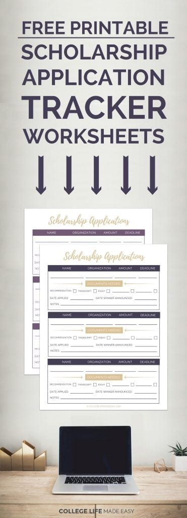 photo about College Organization Printables identify Totally free Printable Scholarship Software package Tracker Worksheets