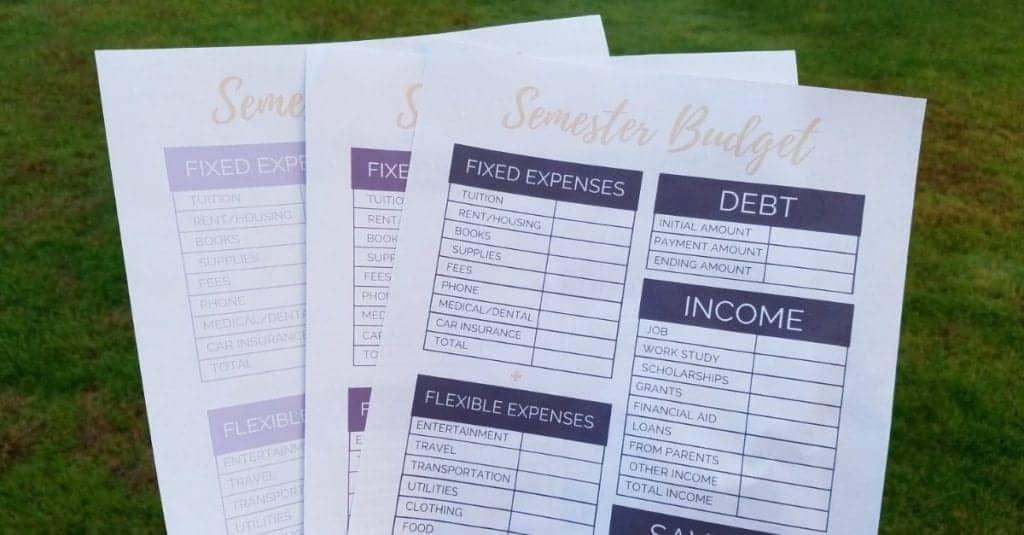 College Semester Budget Worksheets