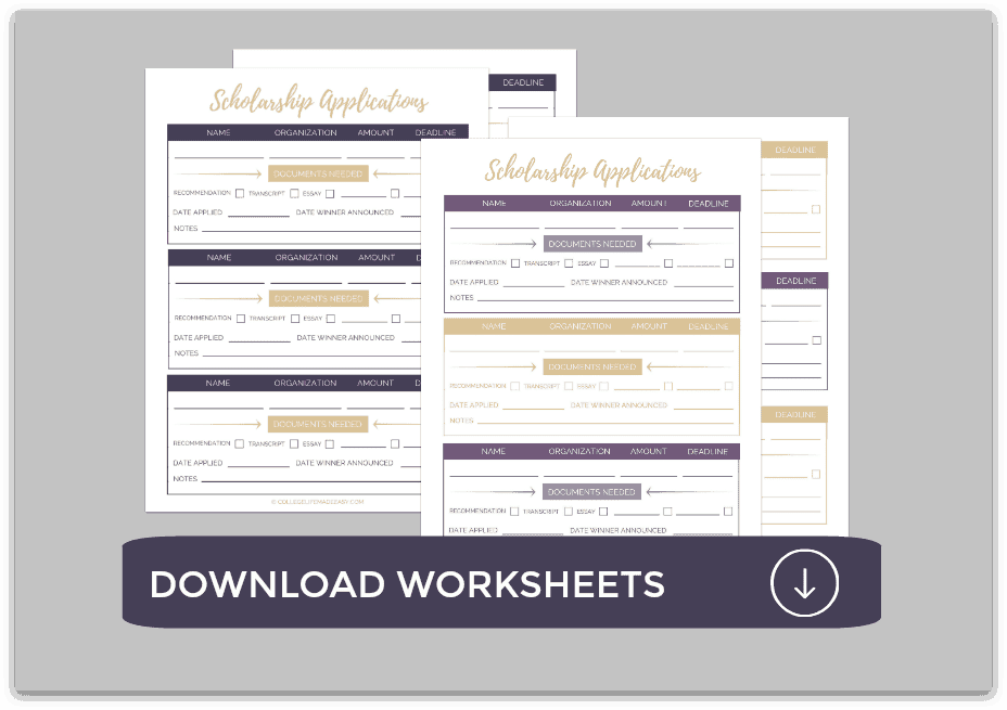 scholarship application tracker worksheets