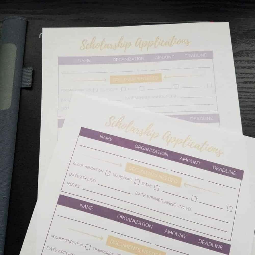 scholarship application tracker worksheets set of 3 college life made easy. Black Bedroom Furniture Sets. Home Design Ideas