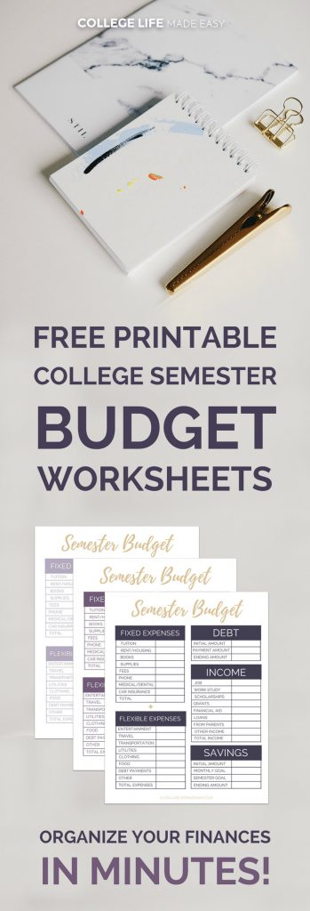 Free Printable College Semester Budget Worksheets