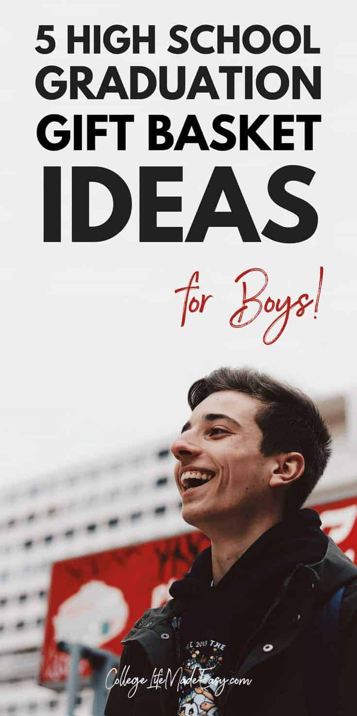 Know a boy who is going away to college soon and looking for gift ideas? Check out these 5 DIY gift basket, they're like mini survival kits! Guy high school students who are graduating will really benefit from gifts like this. Click to see all 5 ideas!