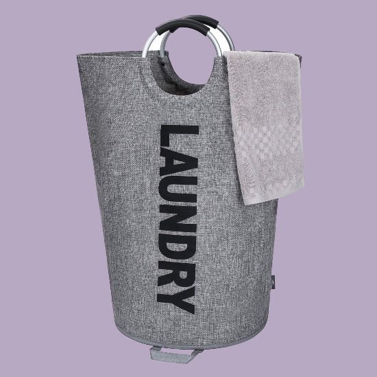 grey laundry bag with handles