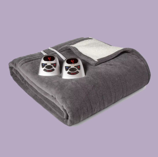 grey and white electric blanket