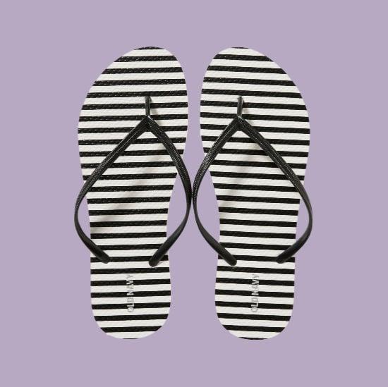 stripped flip flops for shower shoes