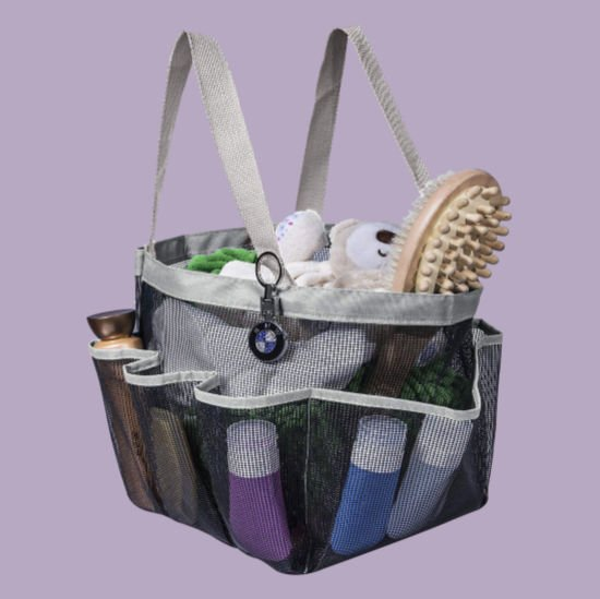 grey shower caddy with bathroom necessities for college