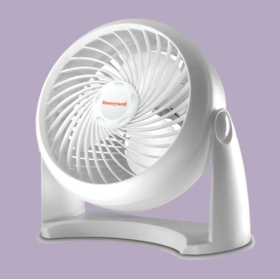 small white Honeywell brand fan