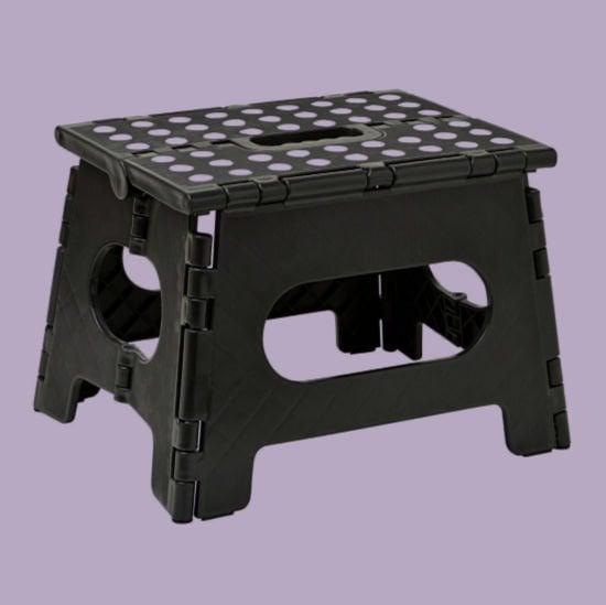 black folding step stool