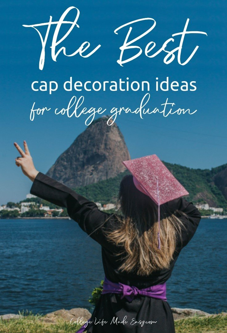 All the best graduation cap ideas for college students this year. Over 35 amazing ideas to inspire your own cap decoration! Included are funny, quotes, Disney and more DIY designs. Click to see them! #graduationcap #grad #college #student #senior #senioradvice #highschool #gradcap #studentlife #graduating #collegelife #collegegrad
