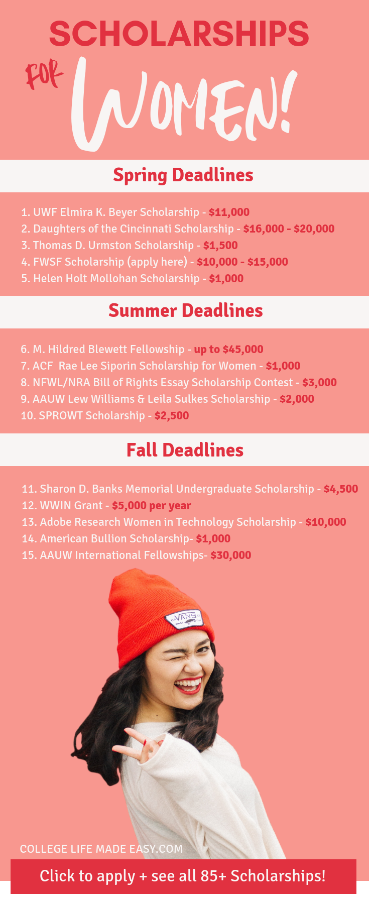 Over 85 CURRENT scholarships for women compiled into one handy list! These are scholarships for girls, mothers and all females who need money for college in 2019! #college #collegelife #student #scholarship #scholarships