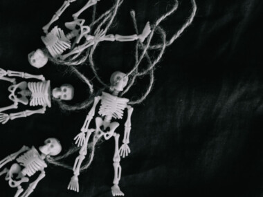 small plastic decorative plastic skeletons for Halloween