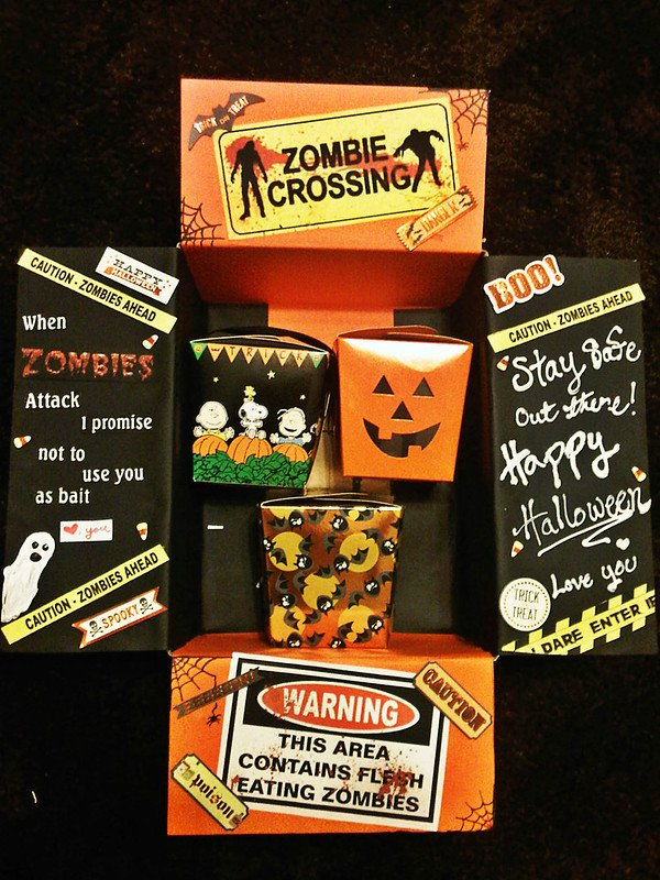 Zombie themed care package for Halloween