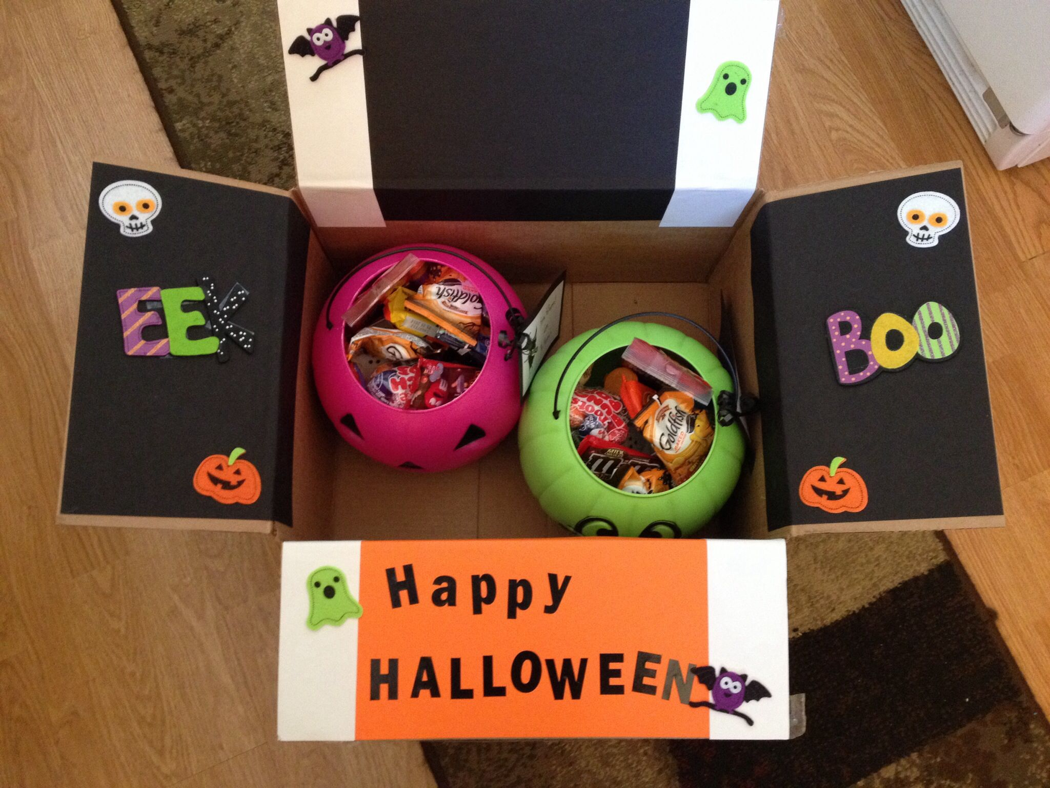 trick-or-treat buckets in college care package for halloween