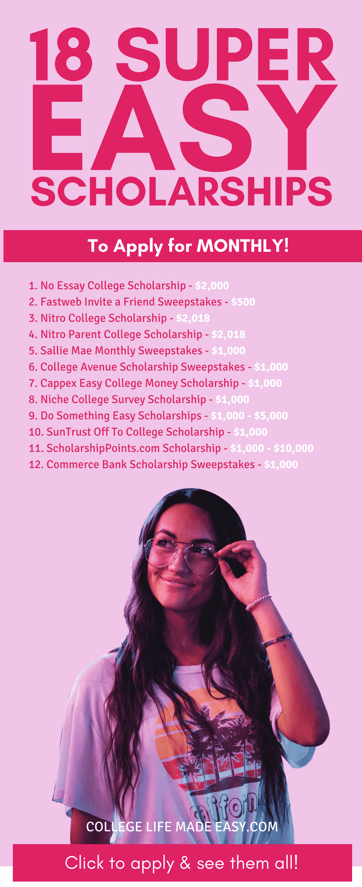 Easy Scholarships You Should Be Applying for Every Month Pinterest list
