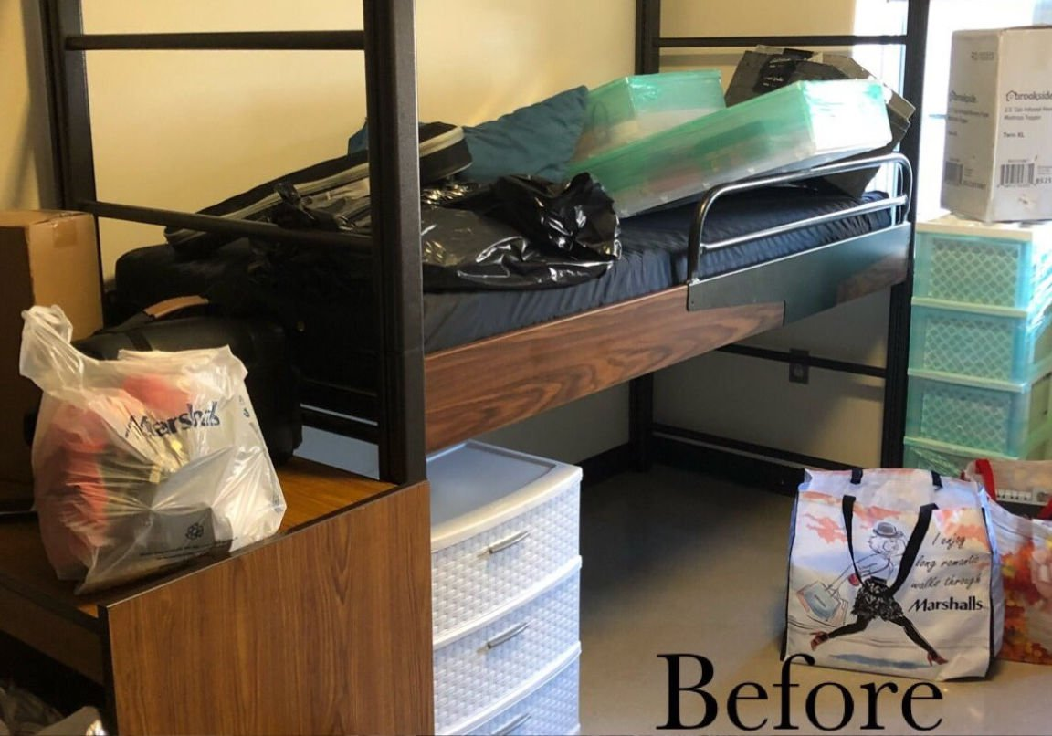 college dorm on move in day completely plain