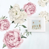 Pink Peony Wall Decals, Peony Flowers Wall Stickers - Watercolor Peel and Stick Removable Stickers