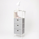 Tall Charging 3 Drawer Cart on Wheels, white