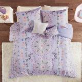 evie purple printed twin xl comforter set