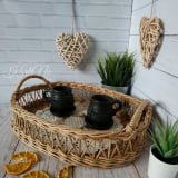 boho Wicker Tray, Oval Tray with handles