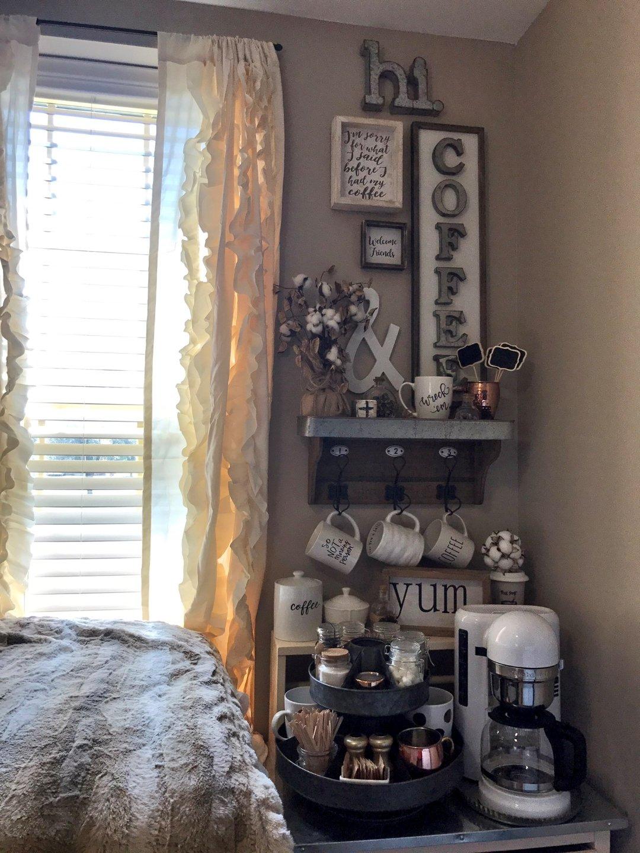 coffee bar corner of dorm room