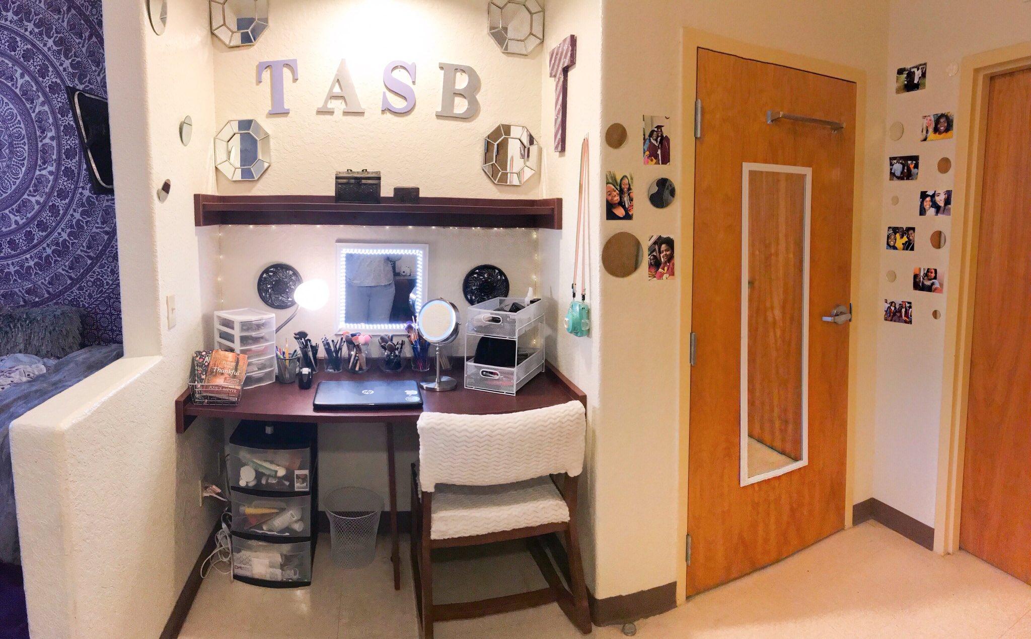 desk view of the purple college room