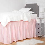 Extra Long Dorm Bed Skirt, light pink