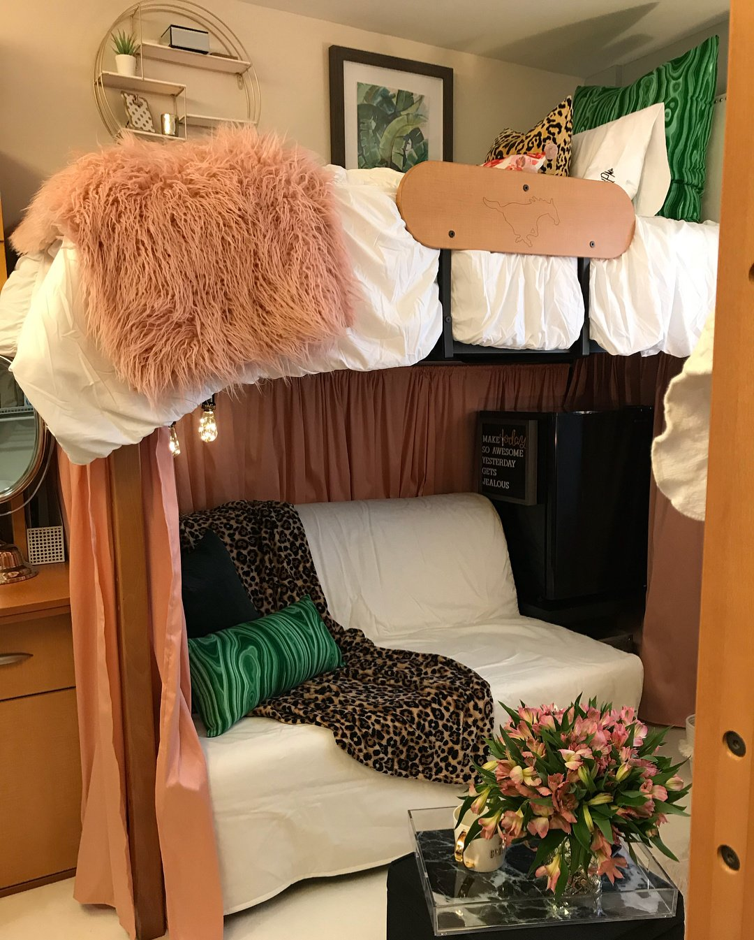 pink, white and animal print dorm room makeover