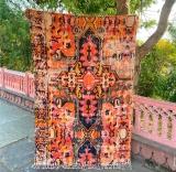 Handmade Cotton Vintage Print Rugs Carpet Beautiful Moroccan Rug