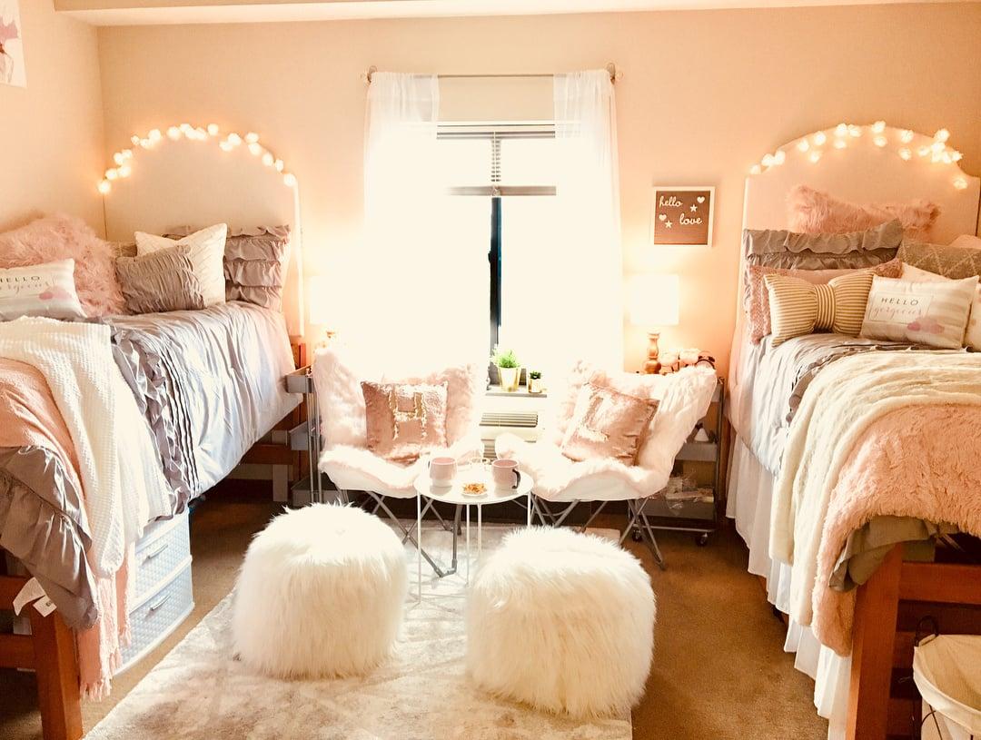 pink blush theme dorm room idea for a girl