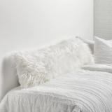 faux mongolian body pillow cover, white