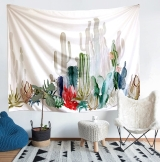 Cactus Tapestry, Wall hangings Yellow and Green Watercolor Printed