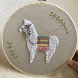 llama embroidery hoop wall decor
