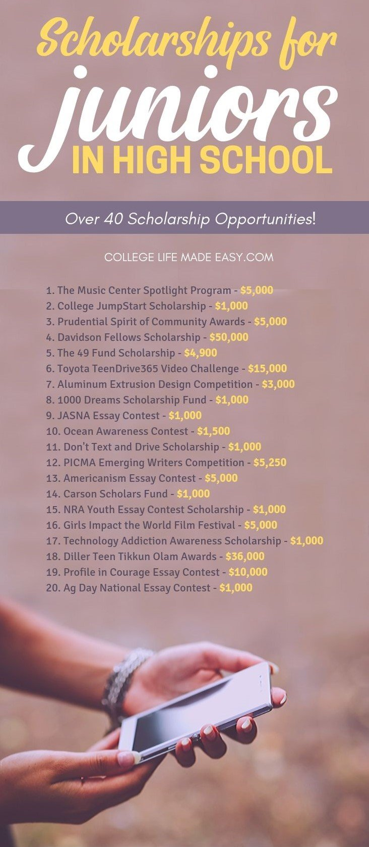 A list of scholarships that high school students need to know about! More than 40 college scholarships for juniors in high school, click to see them all and to start applying