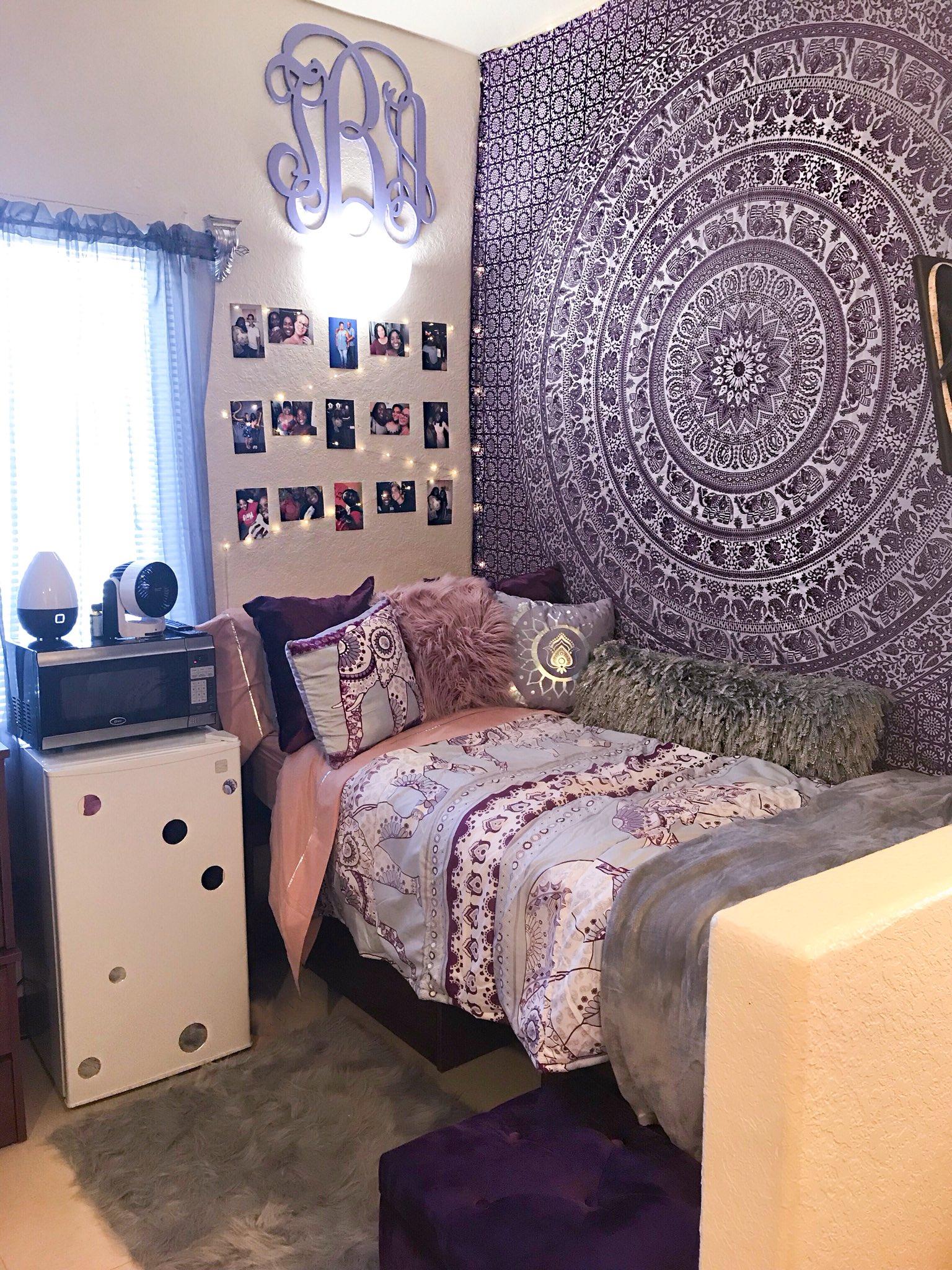 purple themed college dorm