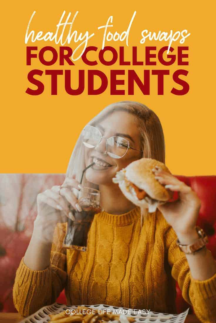 These food swaps makes for easy, healthy college snacks! Add these 9 ideas to your dorm food shopping lists to get a break from junk food and still satisfy your cravings. Click to begin a path to healthier you! #college #collegelife #snacks #healthy #healthyfood