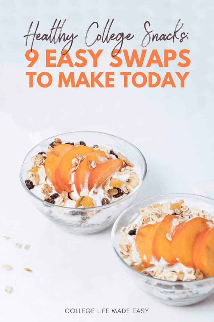 Ideas for healthy college snacks via healthy food swaps! Before you head to the grocery store be sure to this article about dorm/apartment foods to keep on hand for a healthier you. #college #collegelife #snacks #healthy #healthyfood