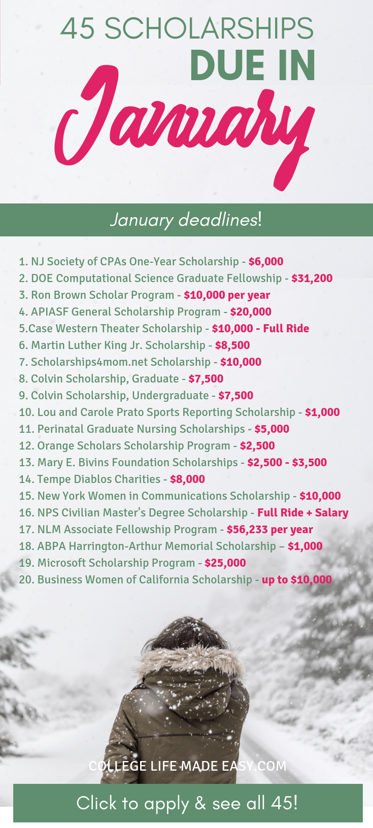College scholarships that all have January deadlines in 2019! Click to apply and see all 45 scholarships! #scholarship #scholarships #2019 #college #student #collegelife