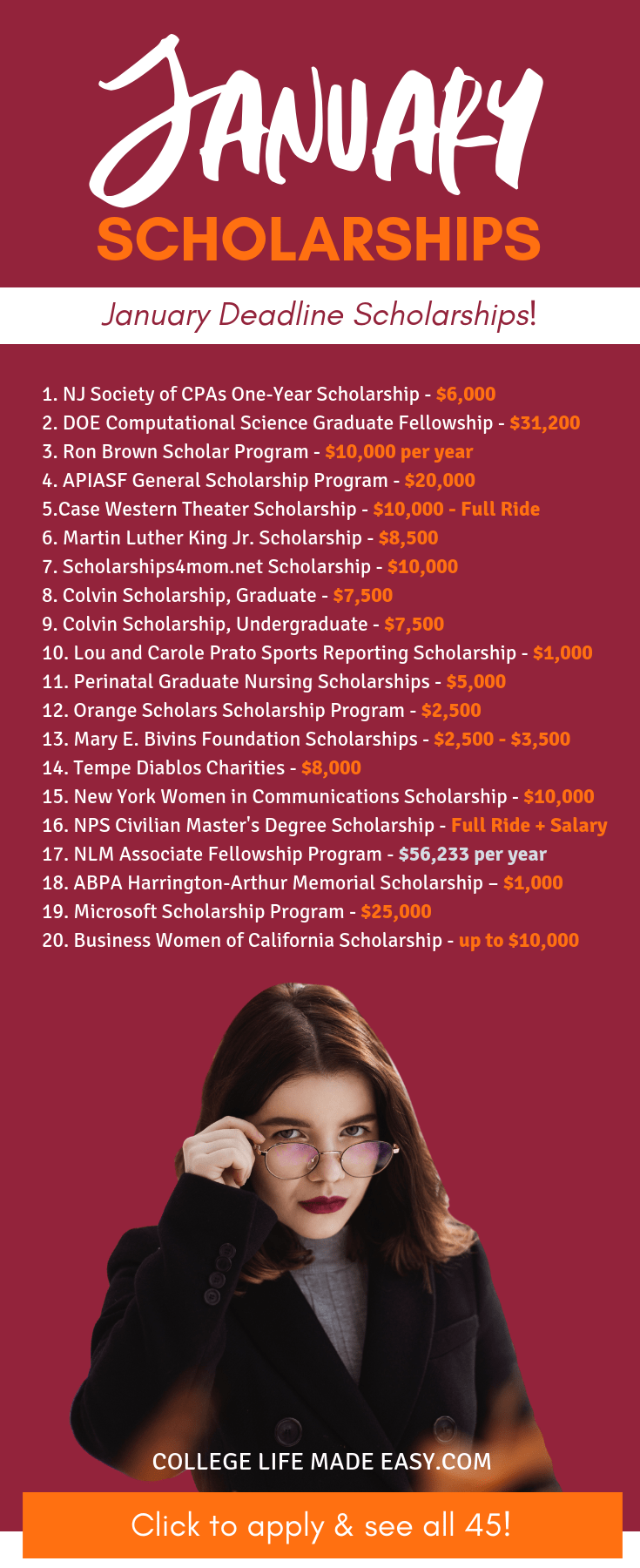 45 January scholarships to apply for this year! College stduents who need money to pay for school should apply for these scholarships due in January. Get to applying early by clicking to read this article!#scholarship #scholarships #2019 #college #student #collegelife