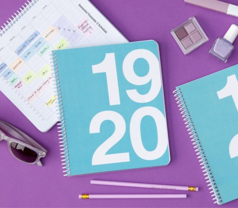 light blue ClassTracker best student planner on purple background