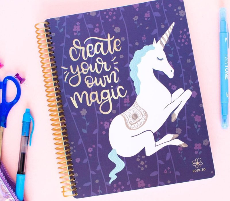 best student planner, purple with unicorn pink background