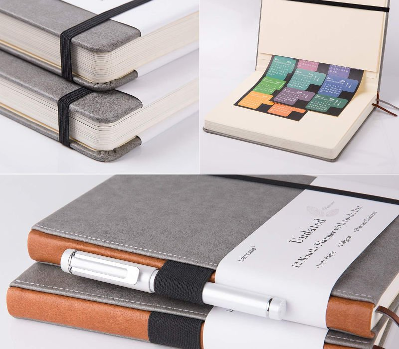 grey/brown lemome undated planner, pen loop